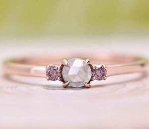 Diamond Ring, Natural Round Rose Cut Engagement Ring