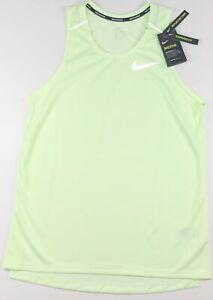 Nike Breathe Miler Dri Fit Neon Yellow Tank Top Shirt CU0333-701 $30 Large