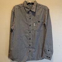 Columbia Men's Medium White and Black Checkered  Long Sleeve Button Down Shirt