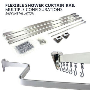 PROFESSIONAL Bendy Adjustable Shower Curtain Hanging Track Rail L P U Shape