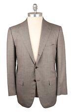 NWT Kiton Napoli 100% Wool 14 Micron Brown/Gray Pinstripe Suit 42US/52EU