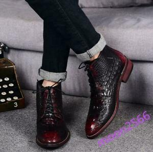 Mens Alligator Printed High Tops Ankle Boots Lace Up Wedding Dress Shoes new