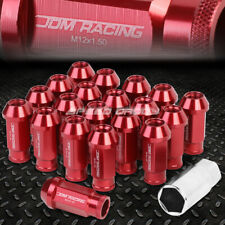 20X RACING RIM 50MM OPEN END ANODIZED WHEEL LUG NUT+ADAPTER KEY RED