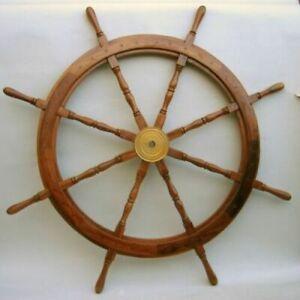 36 Inch Nautical Wooden Steering Wheel Pirate Decor Wooden Brass Ship Wheel