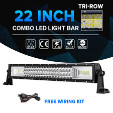TRI-ROW 22inch 1296W CREE LED Work Light Bar Combo Offroad SUV UTE Lamp 4WD 24""