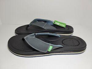 Mens Sanuk Beer Cozy 3 Casual Flip Flop Sandals Dark Slate #1108338 Size 10 NWT