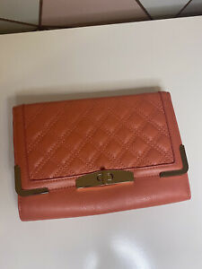 Peacocks Coral Pink Orange MIx Purse Hand Bag Clutch With Twist Closure Womens