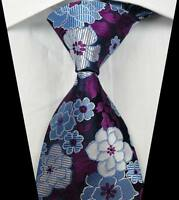 New Classic Florals Purple White Blue JACQUARD WOVEN 100% Silk Men's Tie Necktie