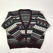 Vintage Men's Cardigan Sweater Private Club Multicolor Geometric Pattern