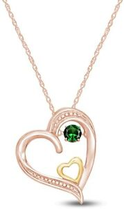 Simulated Emerald Two Tone Beaded Tilted Double Heart Necklace In 925 Silver
