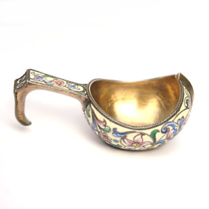Antique Imperial Russian Shaded Cloisonne Enamel 875/1000 Silver Gilt Kovsh