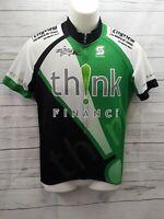 Squadra Cycling Bicycle Jersey Shirt M Think Finance Green Black White Pockets