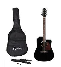 New Martinez Acoustic-Electric Dreadnought Cutaway Guitar Pack (Black)