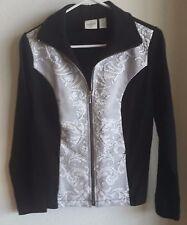 Chico's Zenergy Jacket Long Sleeve Cotton Blend Black White Paisley Zipper EUC