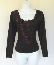 VINTAGE TERRIE BULKIN HAND MADE TOP BLK LACE MAGENTA SEQUINS BEADS POLY COTTON?