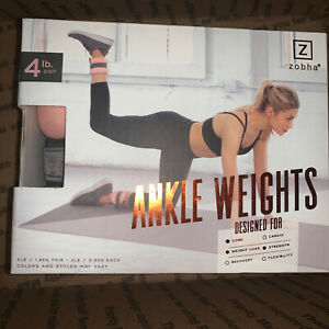 Zobha Blush Pink & Gray Ankle Weights 2 Lb Ea. 4Lb Strength Training Weight Loss