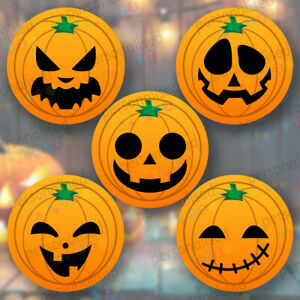 Halloween Pumpkin Stickers Sweet Cone Various Designs & Sizes Party Bag Labels
