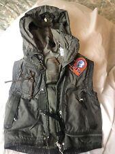 Parajumpers P.J.S Hooded Vest Women Sz S Military Alaska Multi Zip Pocket Green