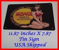 DODGE Mopar DESOTO PLYMOUTH Chrysler Man Cave DECOR Metal Tin SIGN Pinup Girl