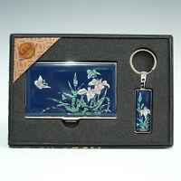 Porte Cartes de Visite Crédit Etui Boîte Nacre Métal Poche Asie Corée ORCHIDEES