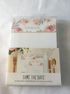"""New American Crafts """"Save the Date"""" Menu & Program Cards 25 sets Floral A1"""