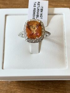 Northern Lights Ecstacy Topaz, Zircon Ring Platinum Over Sterling Silver Size P