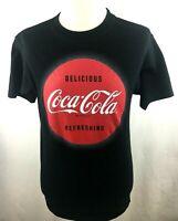 Coca- Cola Mens Graphic Logo Tee Black Short Sleeve Size M Medium Cotton