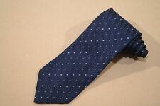 Vtg ERMENEGILDO ZEGNA Navy Blue w/ Gray Neat Woven Pattern ITALY 100% Silk Tie