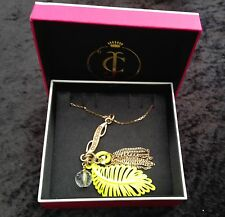NIB Juicy Couture New Genuine Long Gold Adjustable Fern Leaf Pendant Necklace