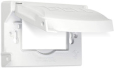 Hubbell Outdoor Lighting MX1250W Weatherproof Single Outlet Cover Outdoor Flat,