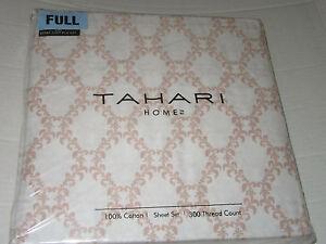 TAHARI Home 100% Cotton 300TC FULL Sheet Set Floral Trellis NEW