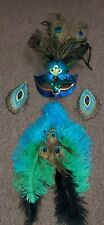 Ladies Peacock Halloween Costume Includes Mask, Tail and Earings Lightly Used