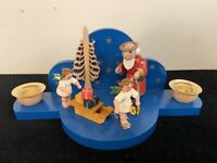 Vintage Erzgebirgische wooden Saint Peter w/ key & 2 angels, Presents On Sleigh