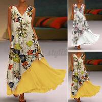 Womens Summer Layered Flare Swing Kaftan Long Maxi Dress Printed Floral Sundress