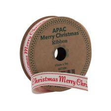 15mm Merry Christmas Fabric Ribbon - 5m Roll