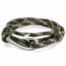 Unique Multilayer Twisted Camouflage Nylon Rope Fish Hook Nautical Bracelet Cuff