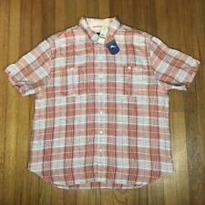 NEW Tommy Bahama Mens Shirt Sz 2XL Orange White Check Caldera Plaid Linen $110