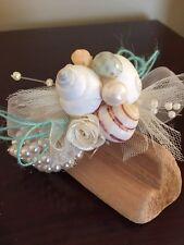 XO Bouquet  Seashell Corsage  Beach Wedding Wrist Corsage