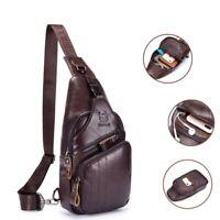 Men's Genuine Leather Casual Sling Chest Crossbody Single Shoulder Bag Cowhide