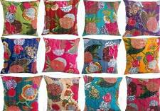 "16"" Cotton Cushion Cover many Colours Indian Kantha Throw Pillow Handmade Decor"