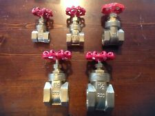 """All 5 Brass Gate Valve With Red Handle Female x Female 1/2"""" 3/4"""" 1"""" 11/4"""" 11/2"""""""