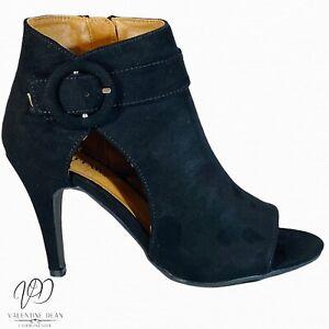 Justfab Women's Dress Sandals Lavania Black Suedette Size 4 UK/ 37 Eur