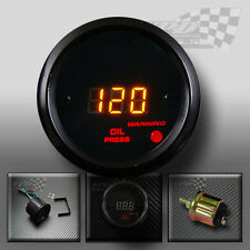 Oil pressure led digital black gauge interior dash panel pod 52mm