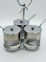 Vintage CANISTER Glassware Condiment Set of 3 Metal Stand & Spoons Set 8.75''T