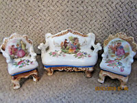 Vintage Occupied Japan mini porcelain sofa and 2 matching chairs 3 piece set 3""