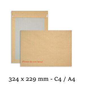 "250 A4/C4 Hard Board Backed Envelopes Peel & Seal ""Please Do Not Bend"" 324 x 229"