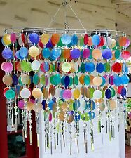Solar Capiz Shell Windchimes/Chandelier Oval Mixed Capiz With 2 Solar Lights