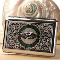 Mother of Pearl Bird Metal Cigarette Tobacco Holder Credit Card Case Box Wallet