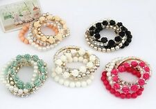 Fashion Mix Flower Beads Stretch Bracelet Salmon Pink