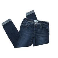 Maurices Sz 3/4 Short Alayna Ankle Skinny Stretch Raw Hem Cuffed Mid Rise Jeans